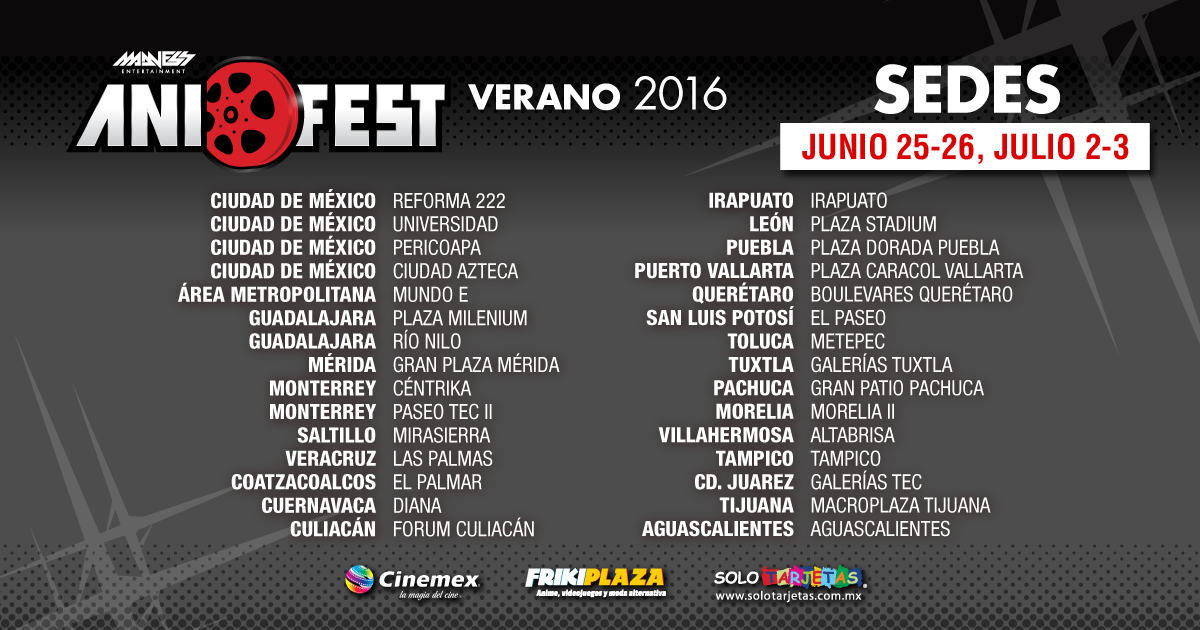 Anifest verano 2016 sedes