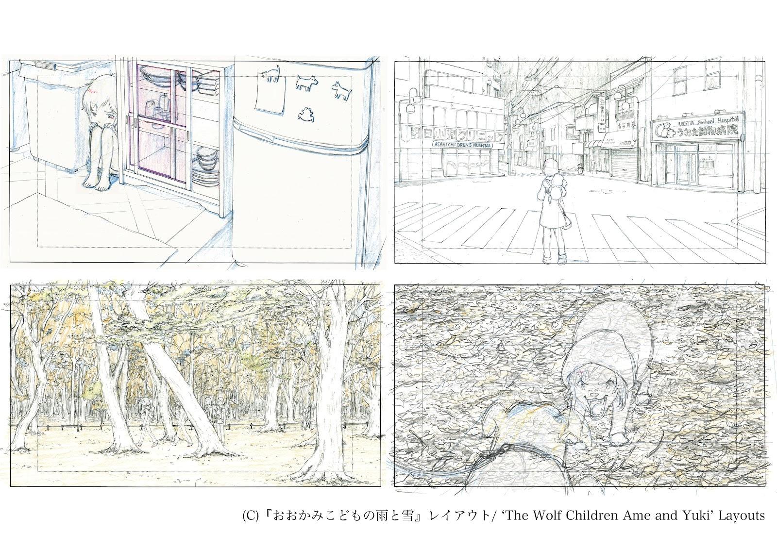 Layout hecho por Aya Suzuki para Wolf Children
